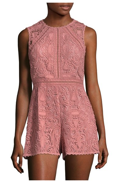 ALEXIS BARBARA Makenna Embroidered Lace Romper in blush - Casual romper featuring scalloped details at edge....