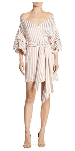 ALEXIS BARBARA Maren Striped Off-The-Shoulder Wrap Dress in red - Tiered sleeves frame shoulder-baring wrap dress....