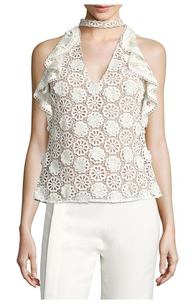 ALEXIS BARBARA Savia Choker Lace Tank Top in white - Ruffled lace tank top with trend-right choker...
