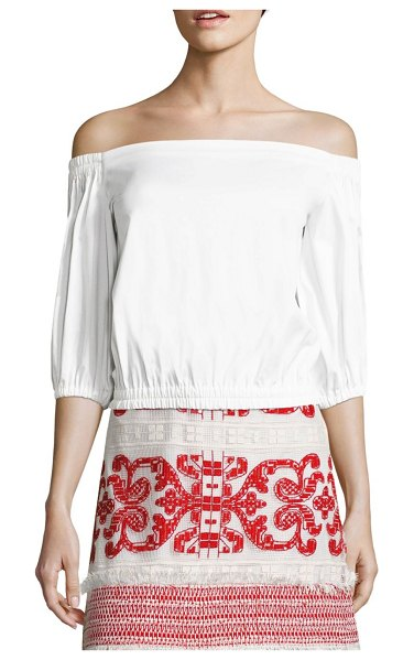 ALEXIS BARBARA Vitali Off-The-Shoulder Poplin Top in white - Solid cropped cotton-blend top. Off-the-shoulder...