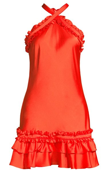 Alexis bloom ruffle halterneck mini dress in red