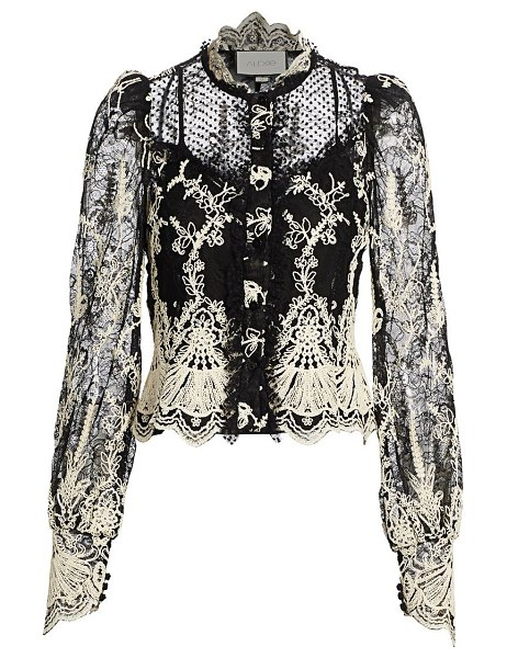Alexis boda embroidered lace blouse in black