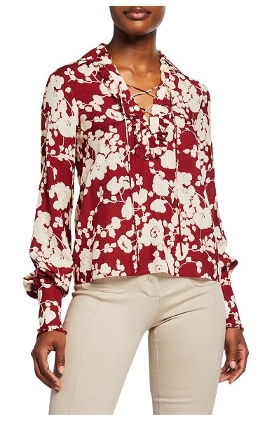 Alexis Daina Floral-Print Long-Sleeve Shirt in maroon
