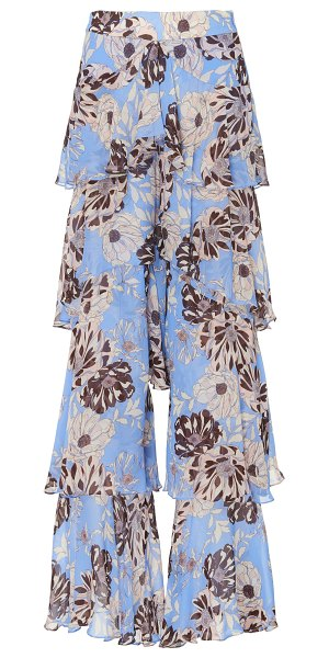 Alexis elria floral-print tiered-flounce pants in print