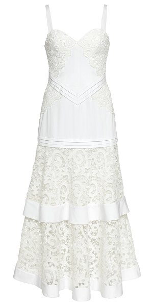 Alexis harlowe sweetheart midi lace dress in white