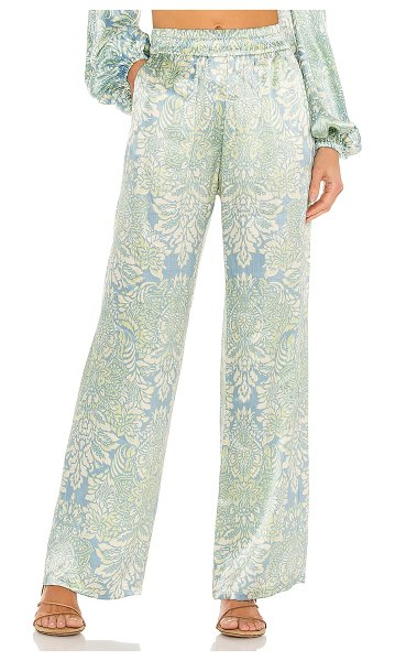 Alexis kaloni pants with elastic waistband in blue damask