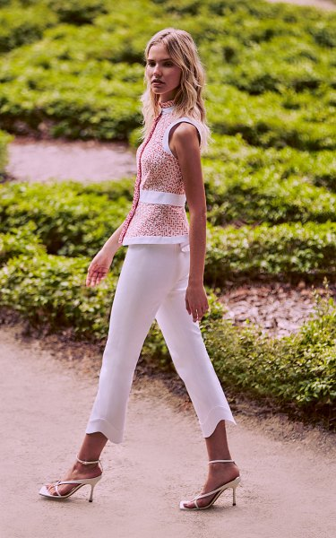 Alexis lionel linen crop pant in white