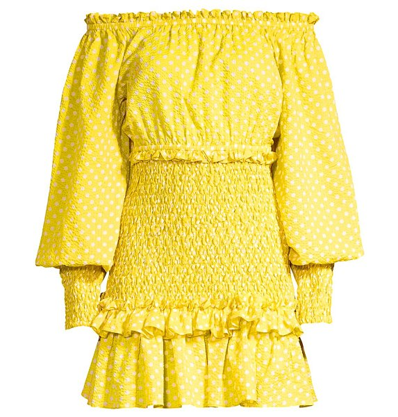 Alexis marilena smocked polka dot off-the-shoulder mini dress in yellow dot