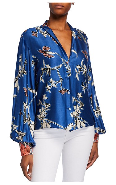 Alexis Paoli Printed Button-Front Satin Top in blue pattern