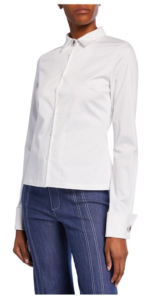 Alexis Roxanne Button-Front Stretch-Cotton Top in white