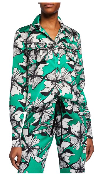 Alexis Sylvie Button-Front Top with Flap Pockets in green