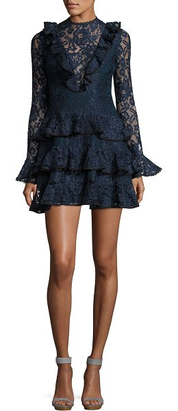 f3e2ae85c8f8 Alexis Tracie Long-Sleeve Tiered Ruffled Lace Mini Dress in Blue ...