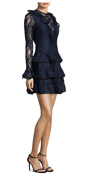 Alexis Tracie Ruffle Mini Dress in navy - Laced mini dress with cascading ruffle detail....