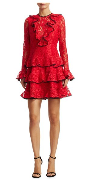 Alexis Tracie Ruffle Mini Dress in red - Laced mini dress with cascading ruffle detail....