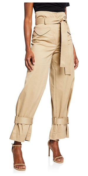Alexis Vicente High-Rise Belted Cargo Pants in tan
