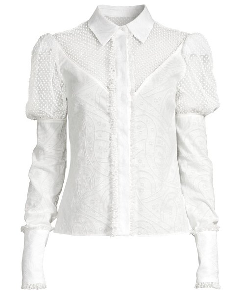 Alexis virginia puff-sleeve blouse in white