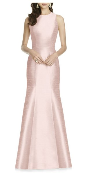 Alfred Sung dupioni trumpet gown in pearl pink