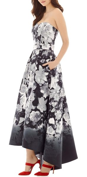 Alfred Sung floral print strapless sateen high/low dress in boho