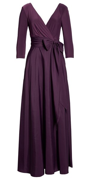 44b8ec7f9de Alfred Sung Jersey & Mikado A-Line Gown in Purple | Shopstasy