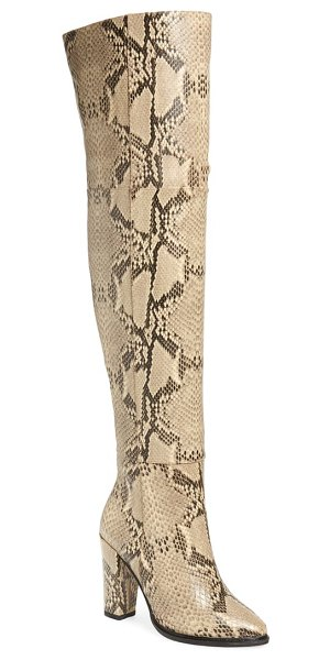 Alias Mae alla over the knee boot in beige snake print leather
