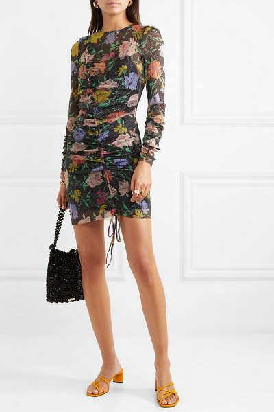 Alice McCall cosmic ruched metallic floral-print mesh dress in black