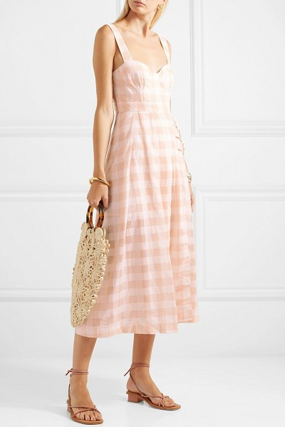 Alice McCall pink moon buckled gingham cotton-blend midi dress in blush