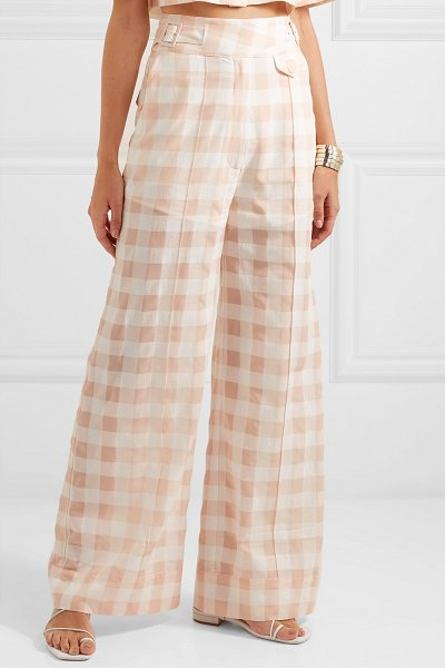 Alice McCall pink moon gingham cotton-blend wide-leg pants in pink