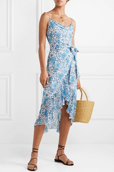 Alice + Olivia alice olivia - tevi ruffled printed georgette midi dress in blue - The floral motif on Alice + Olivia's 'Tevi' dress is...