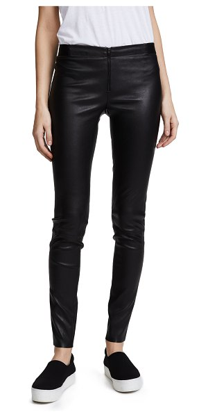 Alice + Olivia zip front leather leggings in black