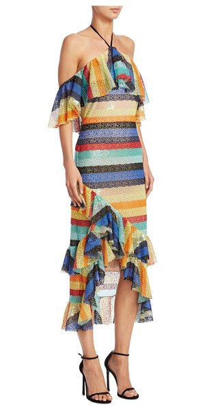 Alice + Olivia annabeth cold-shoulder midi dress in multi - Vibrant ruffled dress with self-tie detail at back....