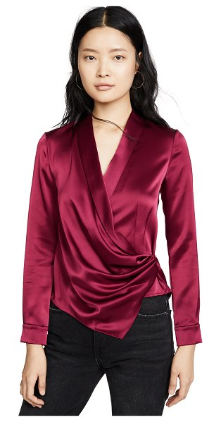 Alice + Olivia aurora mock wrap top in bordeaux
