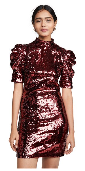 Alice + Olivia brenna sequin fitted puff sleeve dress in bordeaux