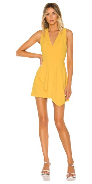 Alice + Olivia callie asymmetrical drape dress in golden rod