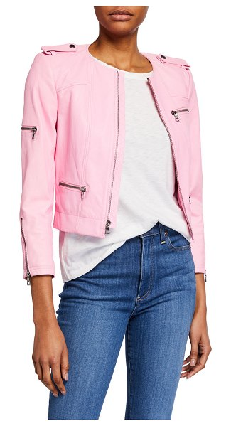 Alice + Olivia Cam Leather Biker Jacket in electric pink