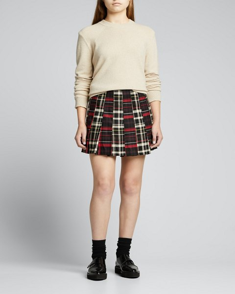 Alice + Olivia Carter Stitched Pleated Mini Skirt in freedom plaid
