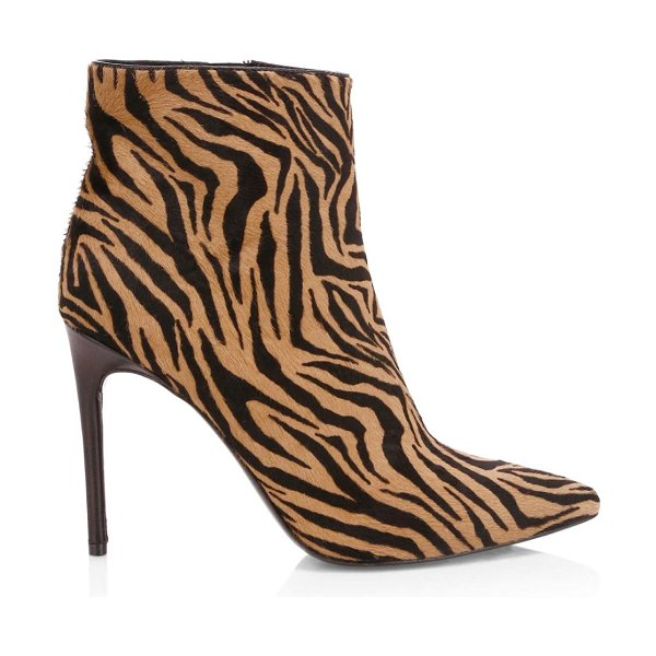 Alice + Olivia celyn zebra-print calf hair point-toe booties in tan black