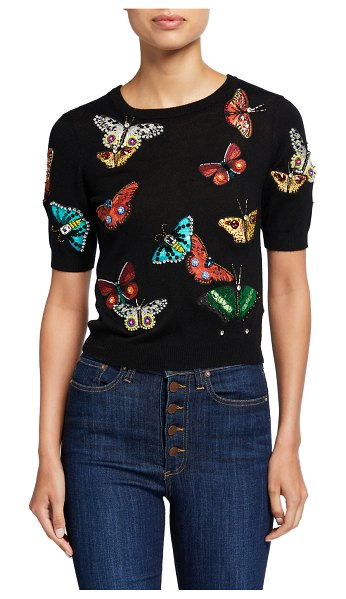 Alice + Olivia Ciara Butterfly-Embellished Short-Sleeve Sweater in black pattern