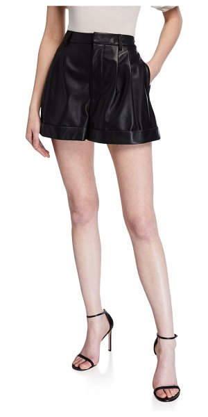 Alice + Olivia Conry Pleated Leather Shorts in black