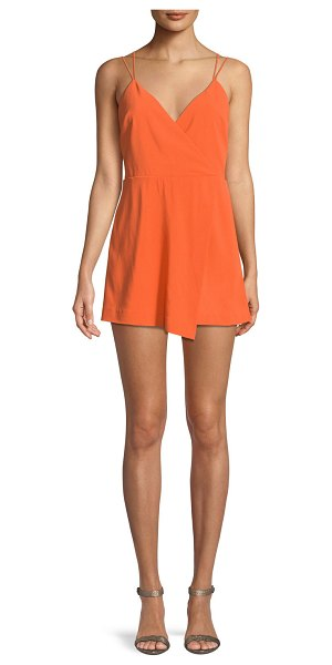 a88ad892a7 Alice + Olivia Emery Fitted Cross-Front Romper in orange - Alice + Olivia
