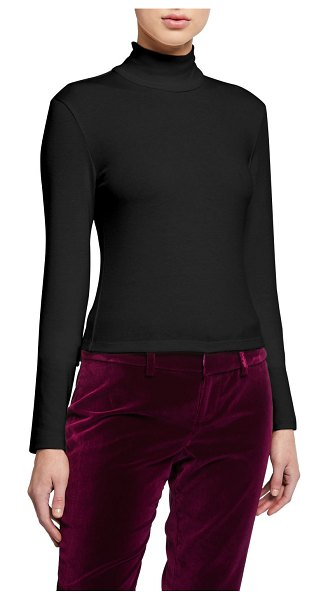 Alice + Olivia Garrison Slim Mock-Neck Top in black