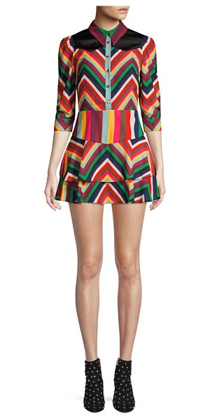 Alice + Olivia Hazeline Rainbow Chevron Stripe Mini A-Line Shirt Dress in multi