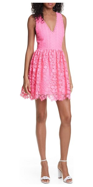 Alice + Olivia iris lace sleeveless fit & flare dress in hot pink