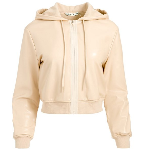 Alice + Olivia janae slim-fit rubber-zip hoodie in almond