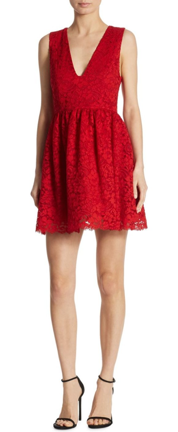 Alice Olivia Ka Lace Party Dress In Deep Ruby Designed With