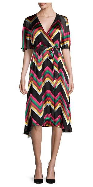 Alice + Olivia Lexa Stretch Silk Wrap Dress in multi