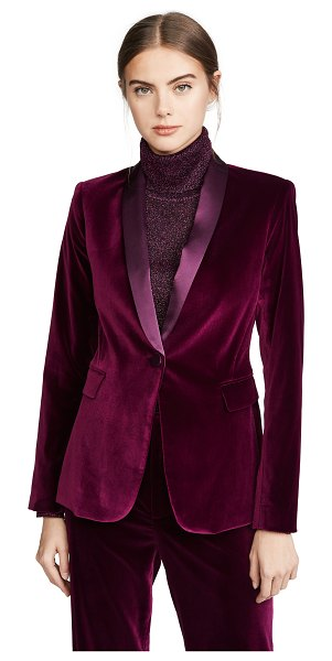 Alice + Olivia macey fitted strong shoulder blazer in merlot