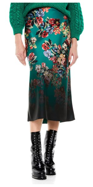 Alice + Olivia maeve floral satin slip skirt in cloud dancer dark teal multi