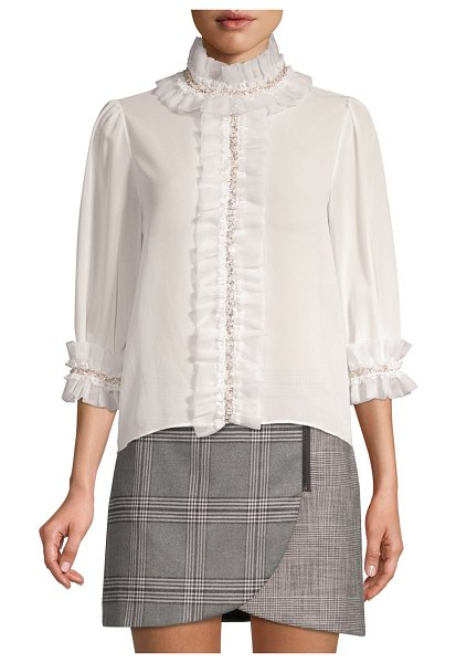 Alice + Olivia Mira Embellished Ruffle Blouse in off white