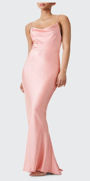 Alice + Olivia Montana Cowl-Neck Strappy-Back Maxi Gown in pink