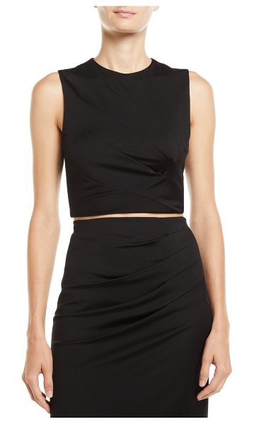 Alice + Olivia Olive Pleated Fitted Tank in black